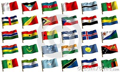 Colagem das bandeiras dos países diferentes.
