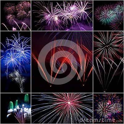 Colagem do fogo de artifício