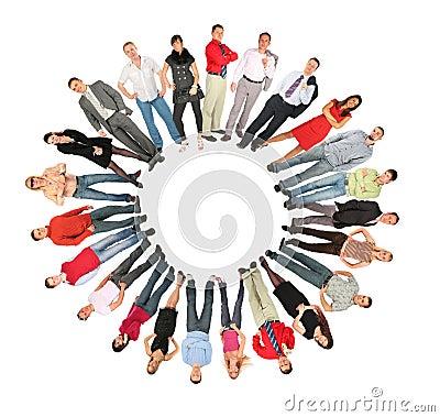 Colagem do formulário do sol do círculo dos povos da multidão