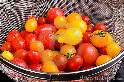 A colander with fresh tomatoes