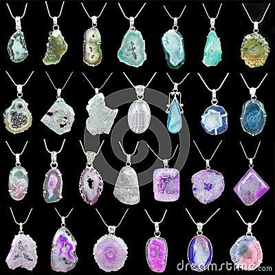 Colares coloridas do pendente de pedra preciosa