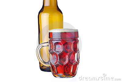 Cold amber beer isolated on white
