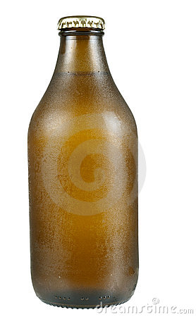 Cold beer bottle with condensation, isolated