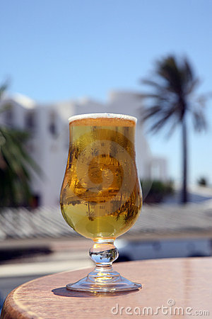 Cold Beer with reflection palm