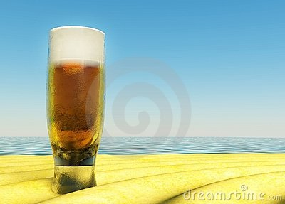 Cold Beer on Summer Sand, beach