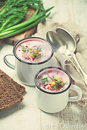 Free Cold Beetroot Soup Royalty Free Stock Photo - 87744675