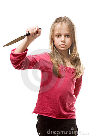 Cold blooded little girl with knife