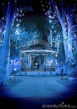 Cold blue Christmas night