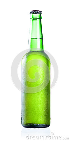 Cold chilled beer in green bottle
