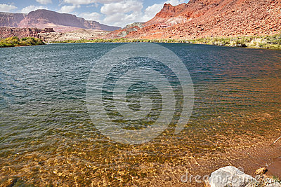Cold and clear water of the Colorado River