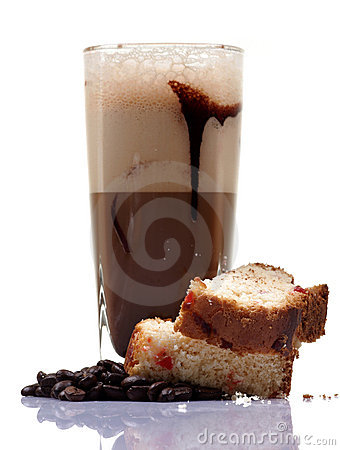 Cold coffee and cake