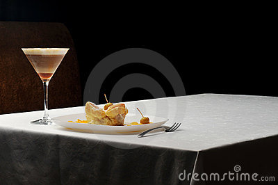 Cold coffee  and sweet pastry