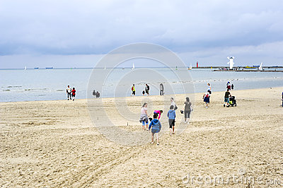 Cold day on Baltic beach in Swinoujscie Editorial Stock Photo