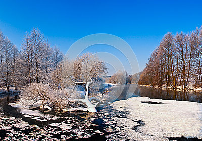 Cold day on winter river