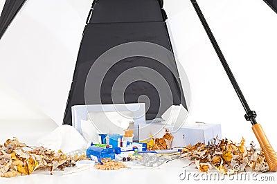 Cold and Flu Season with Umbrella_Landscape