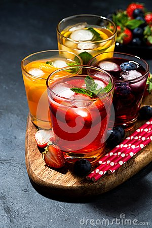 Free Cold Fruit And Berry Beverages In Assortment On Dark Background Royalty Free Stock Image - 118085476