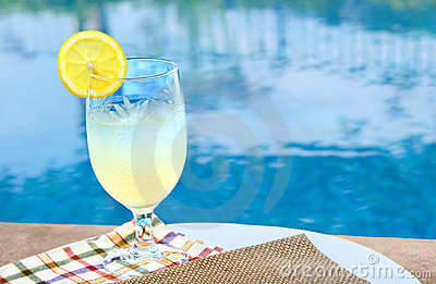 Cold glass of lemonade