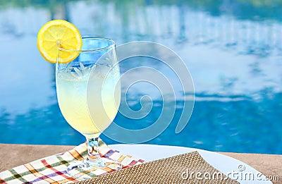 Cold glass of lemonade