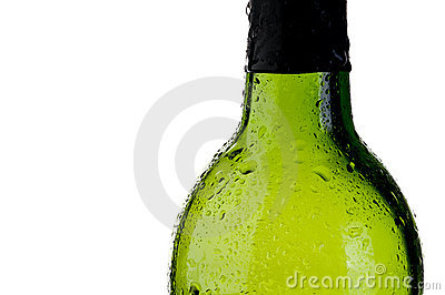 Cold green bottle  with copy space
