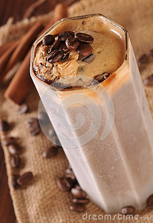 Cold ice coffee with chocolate