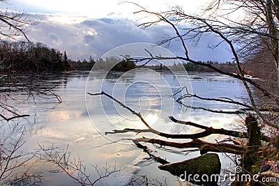 Cold morning lake