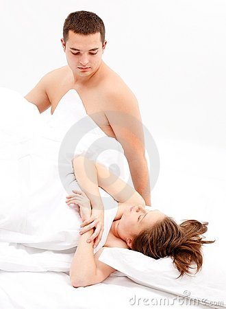 Cold relation between couple in bed