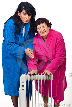 Cold shivering  women with radiator heat