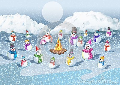 Cold snow The fire gives warmth to the snow Stock Photo