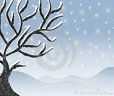 Cold Snowy Winter Tree Scene