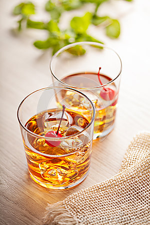 Free Cold Summer Cocktail Drink With Cherry Royalty Free Stock Photo - 48396175