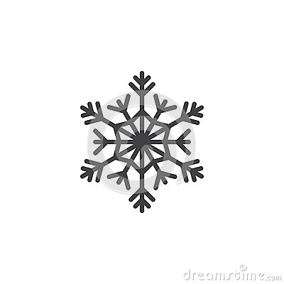 Cold symbol, Snowflake line icon, outline vector sign, linear pi Vector Illustration