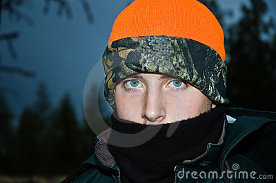 Cold teenage male portrait