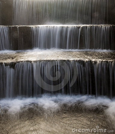 Cold Water Flowing Down Stone Steps