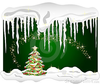 Cold winter background with christmas tree