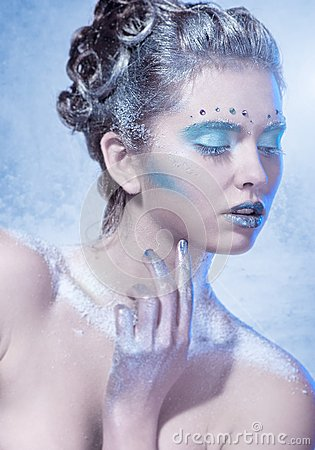 Cold winter Young woman with creative makeup