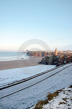 Free Cold Winters Beach With Castle Royalty Free Stock Photo - 13942845