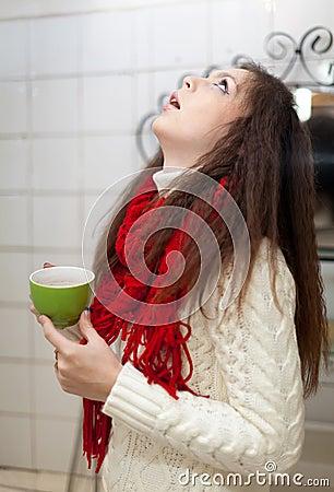 Colds girl gargles her throat