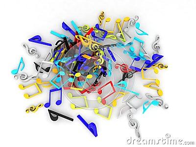 Coleção colorida tridimensional das notas musicais