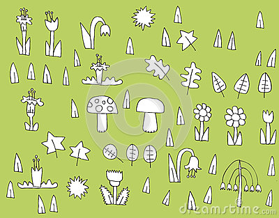 Coleção da vegetação dos desenhos animados em preto e branco