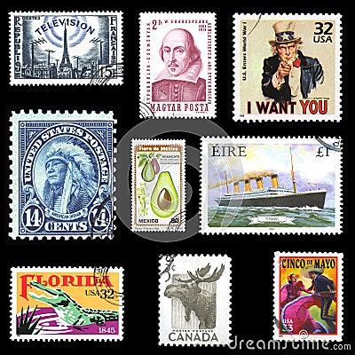 Coleção de selos de porte postal europeus e americanos