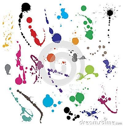 Coleção de vários símbolos do splatter da tinta