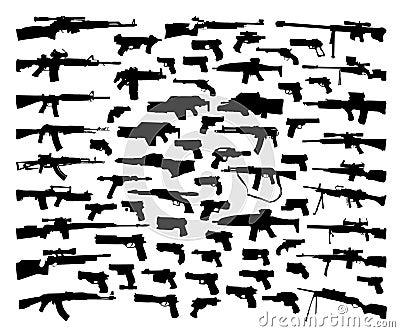 Coleção do vetor de silhuetas da arma
