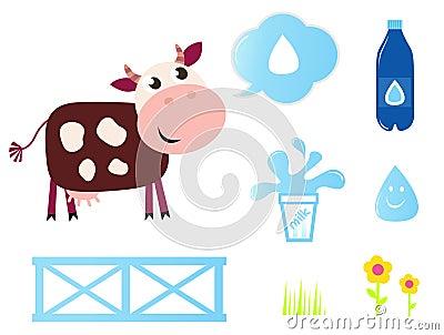 Coleção dos ícones da vaca, do leite e da leiteria.