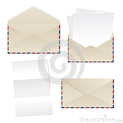 Folhas do envelope e do papel