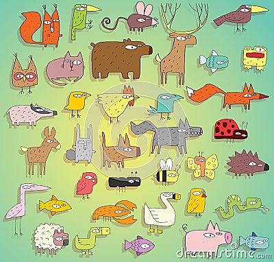 Coleção engraçada dos animais nas cores, com esboços e sombras