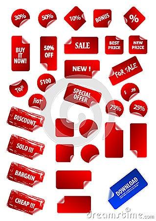 Coleção grande de etiquetas de preço pegajoso do vetor.