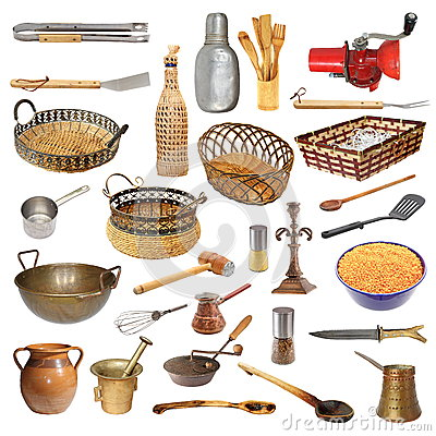 Colecci n de diversos utensilios y objetos de la cocina - Objetos de cocina ...
