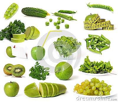 Colección de frutas y verdura verdes