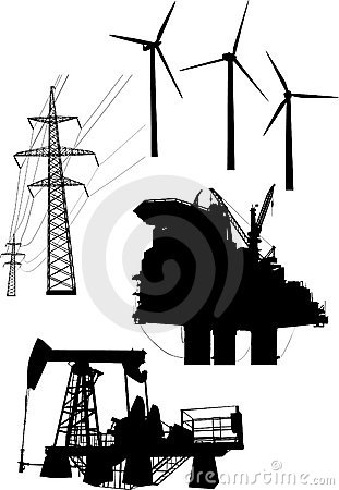 Colección de los elementos de la generación de la energía