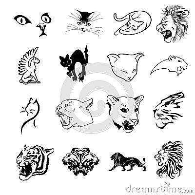 Colección de símbolos felinos